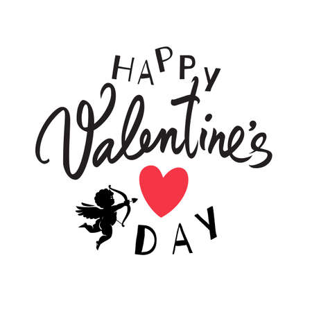 Happy Valentines Day handwritten lettering. Black calligraphic text with red heart and Cupid aiming a bow