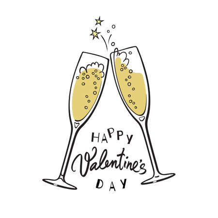 Happy Valentines Day handwritten calligraphic text with two red hearts and two sparkling glasses of champagne Illusztráció