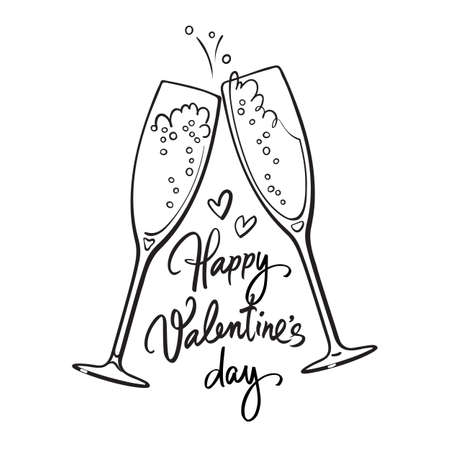 Happy Valentines Day handwritten calligraphic text with two sparkling glasses of champagne retro style illustration Illusztráció