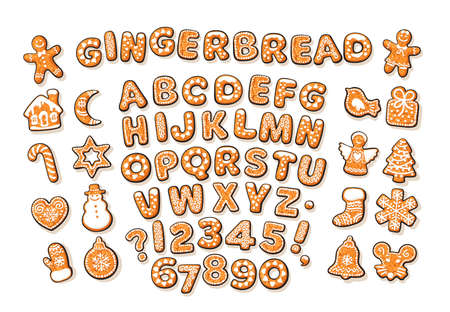 Christmas and New Year gingerbread alphabet and cute traditional holiday cookies on white backgroun.