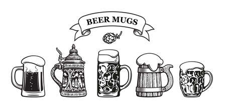 Set of traditional beer mugs. Vector illustration. Illusztráció
