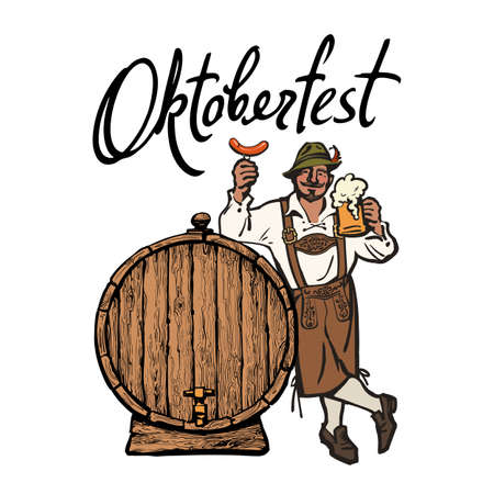 Bavarian man with beer mug and sausage leaning on barrel. Lettering Octoberfest. Vector illustration.