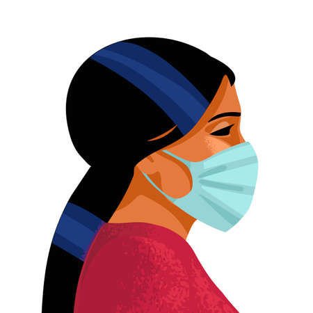 Woman wears medical mask. Virus and disease prevention. Female portrait, profile face. Vector illustration. Illusztráció