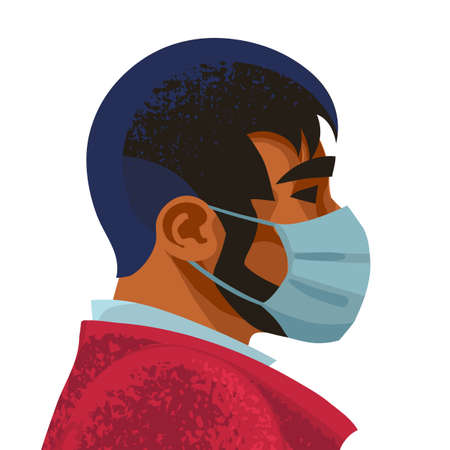 Man wears medical mask. Virus and disease prevention.Male portrait, profile face. Vector illustration.
