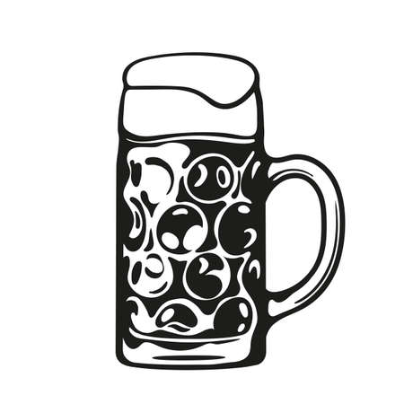 Dimpled Oktoberfest Glass Beer Mug. Hand drawn vector illustratio.