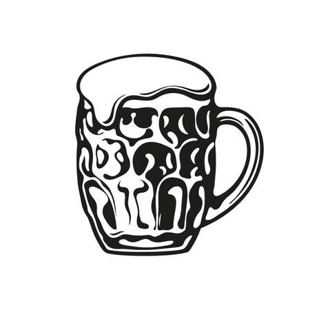 Dimpled glass beer mug. Hand drawn vector illustration.