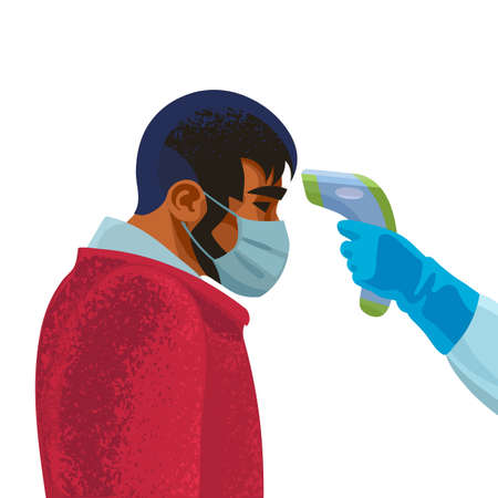 Body temperature check. Hand holding infrared forehead thermometer before face of young man. Vector illustration.