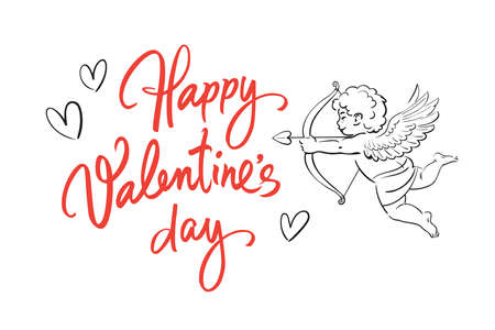 Valentines Day holidays greeting card. Happy Valentines Day handwritten text with hearts and sketch of cute Cupid