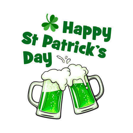Happy Saint Patrick Day greeting card with text, two toasting mugs full of green beer and lucky shamrock clover leaf