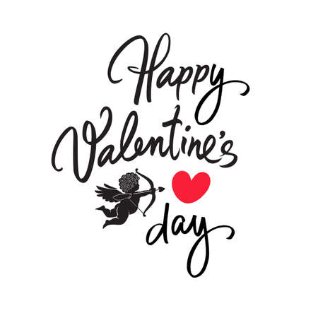 Happy Valentines Day handwritten lettering. Black calligraphic text with two red hearts and Cupid