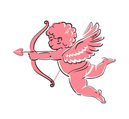 Sketch of cute funny Cupid aiming a bow and arrow. Valentines Day love symbol. Hand drawn vector illustration