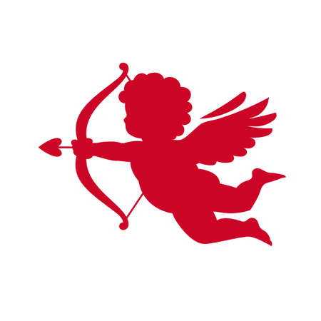 Red silhouette of Cupid aiming a bow and arrow. Valentines Day love symbol.Vector illustration isolated Illusztráció