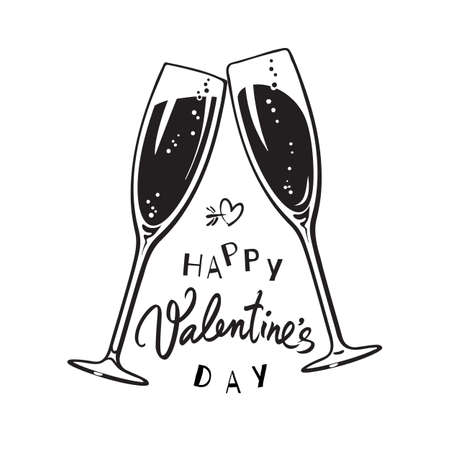 Happy Valentines Day handwritten calligraphic text with two sparkling glasses of champagne Illusztráció