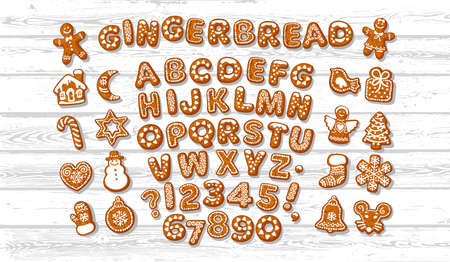 Christmas and New Year gingerbread alphabet letters and numbers and cute traditional holiday cookies