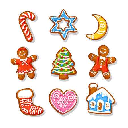 Set of Christmas and New Year gingerbread cookies. Traditional sugar coated cookies. Cartoon hand drawn vector illustration isolated on white background. Illusztráció