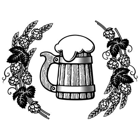 Old wooden mug of beer in frame of hop branches with cones and leaves, wheat barley ears. Hand drawn vector illustration on white background.