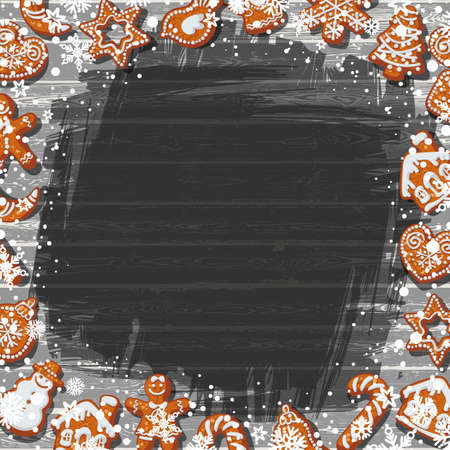 Christmas or New Year background with homemade gingerbread cookies on old black wooden table with flour and snowflakes. Place for text. Cartoon hand drawn vector illustration. Illusztráció