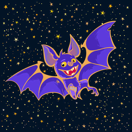 Cartoon Halloween vampire bat on starry night sky background. Halloween poster, or invitation design template. Hand drown illustration.