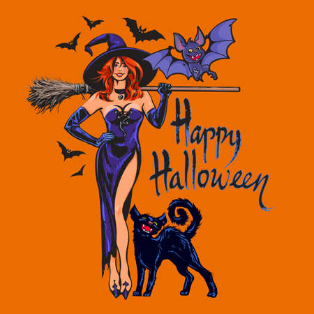 Halloween beautiful sexy witch holding broomstick, black cat and bats. Cartoon style vector illustration on orange background. Çizim