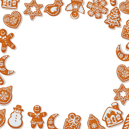 Christmas or New Year background with homemade gingerbread cookies on white background sprinkled with flour and snowflakes. Place for text. Cartoon hand drawn vector illustration.