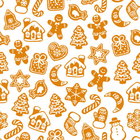 Christmas and New Year seamless pattern. Silhouette of traditional Christmas gingerbread cookies and snowflakes on white background. Vector illustration.