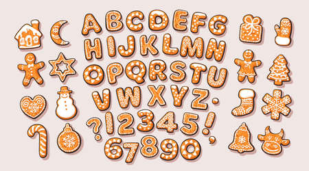 Christmas and New Year gingerbread alphabet and cute traditional holiday cookies. Sugar coated letters and numbers. Cartoon hand drawn vector illustration on white background. Illusztráció