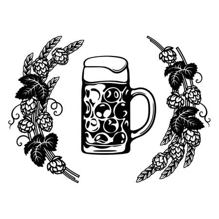 Dimpled Oktoberfest Glass Beer Mug in frame of hop branches with cones and leaves, wheat barley ears. Hand drawn vector illustration on white background.