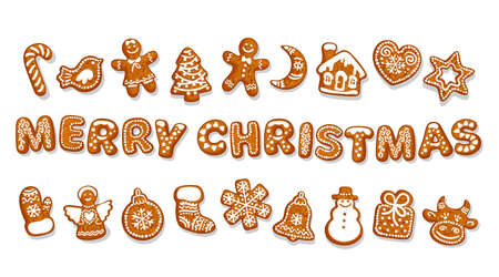 Set of Christmas gingerbread cookies. Merry Christmas text composed of cookies. Cartoon hand drawn vector illustration isolated on white background.