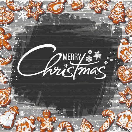 Merry Christmas text and gingerbread cookies on old rusty wooden table with flour. Cartoon hand drawn vector illustration.