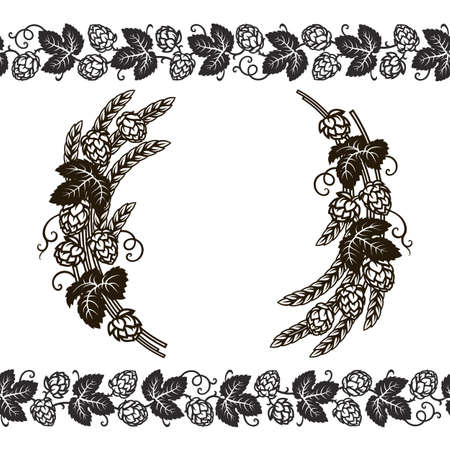 Wreath or frame of branches of hops, and beer hop seamless border. Set of elements for brewery design. Hand drawn vector illustration isolated on white background.