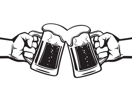 Two hands holding toasting beer mugs, Cheers. Clinking glass tankards full of beer and foam. Black vector illustration isolated on white background.