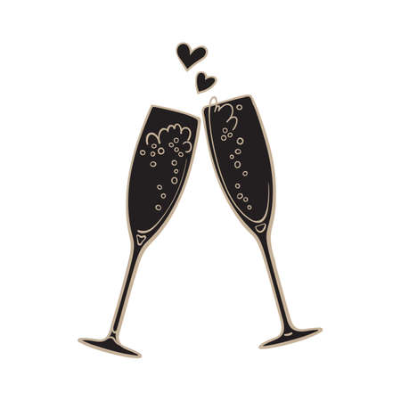 Black silhouette of two sparkling glasses of champagne. Retro style vector illustration isolated on white background. Illusztráció