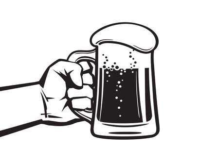 Hand holding glass mug full of beer. Hand drawn vector illustration in retro style isolated on white background. Illusztráció