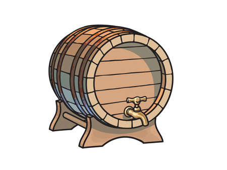 Old wooden barrel with tap on the stand three quarters view. Beer, wine, rum whiskey traditional barrel in cartoon style. Hand drawn vector illustration.
