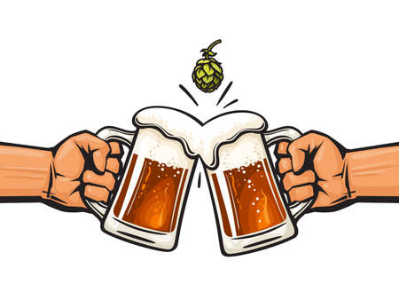 Two hands holding toasting beer mugs and hop cone. Cheers. Clinking glass tankards full of beer and foam. Vector illustration
