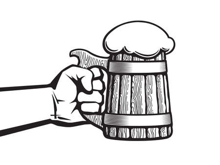Hand holding old wooden mug full of beer. Hand drawn vector illustration in retro style isolated on white background.