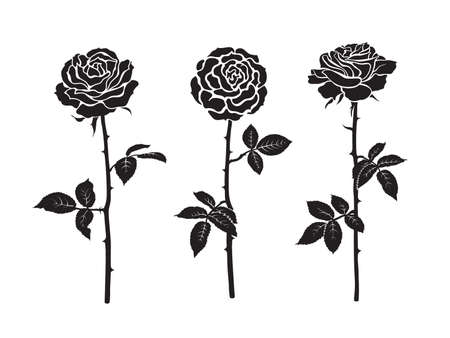 Three black silhouettes of rose flowers with leaves and stems. Vector illustration isolated on white background.