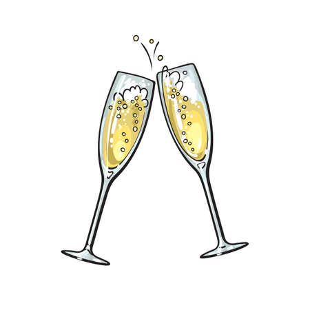 Sketch of two sparkling glasses of champagne. Merry Christmas, Happy New Year and Valentines Day design element. Hand drawn vector illustration.