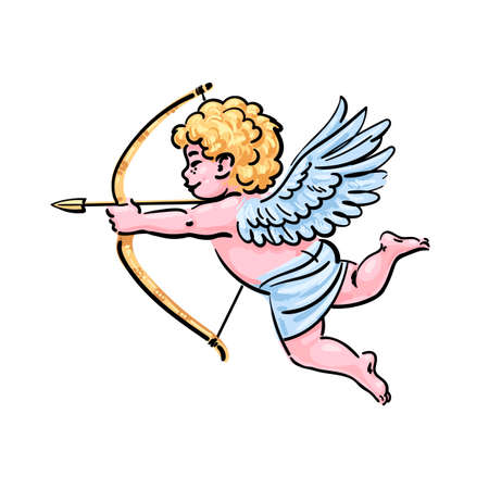 Cupid aiming a bow and arrow in cartoon style. Valentine s Day love symbol. Hand drawn vector illustration. Illusztráció