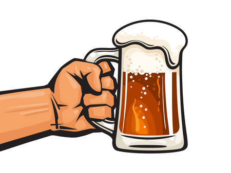 Hand holding glass mug full of beer. Design element for pubs, bars, brewery, beer festivals. Hand drawn vector illustration in retro style isolated on white background.
