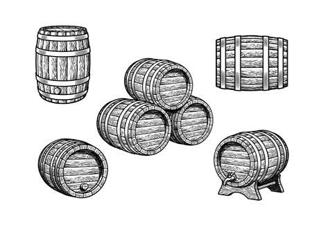 Vintage set of old wooden barrels for beer, wine, whiskey, rum in different positions. Three stacked casks, barrel with tap on the stand, front, side and three quarters view. Vector illustration. Illusztráció