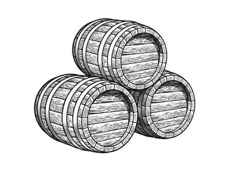 Three stacked wooden barrels for beer, wine, whiskey, rum and other alcohol. Vintage monochrome wood casks. Hand drawn engraving style illustrations isolated on white background. Illusztráció