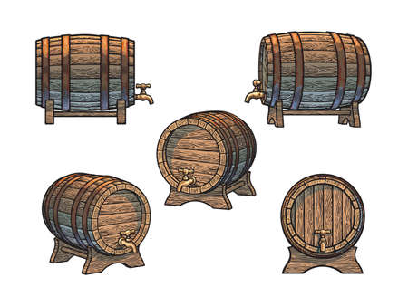 Set of wooden barrels with taps on stands in different positions. Front, side and three quarters views. Vector illustrations isolated on white background.