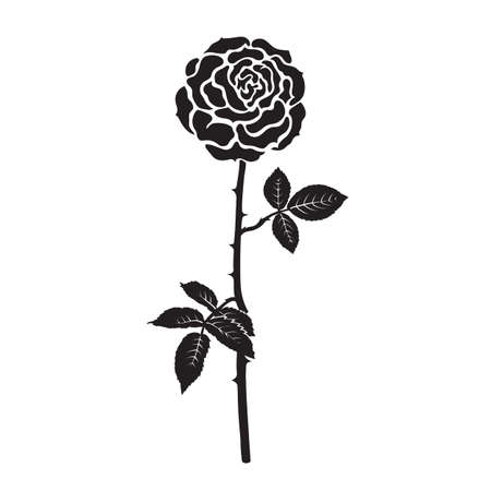 Black silhouette of rose flower with leaves and stem isolated on white background. Decorative element for tattoo, stencil, greeting card, wedding invitation. Vector illustration.