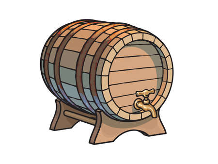 Old wooden barrel with tap on the stand three quarters view. Beer, wine, rum whiskey traditional barrel in cartoon style. Hand drawn vector illustrations isolated on white background.