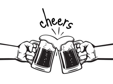 Cheers text. Two hands toasting beer mugs. Clinking glass tankards full of beer with foam. Black and white retro style vector illustration isolated on white background. Illusztráció