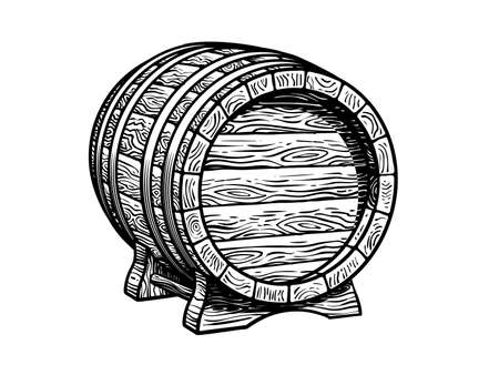 Old wooden barrel on the stand. Beer, wine, rum whiskey traditional barrel three quarters view in vintage engraving style. Hand drawn vector illustrations isolated on white background.