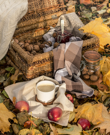 Picnic on the autumn forest. Cappuccino, nuts, apples, jam and wicker basket are on the autumn leaves. 写真素材