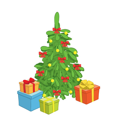 christmas tree with gift boxes Vector