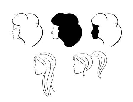 black wigs: heads of women - vector illustration